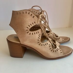 Mossimo taupe suede lace-up sandals size 7.5.